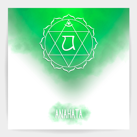 Fourth, heart chakra - Anahata. Illustration of one of the seven chakras. The symbol of Hinduism, Buddhism. Green watercolor fog on background. Ilustracja