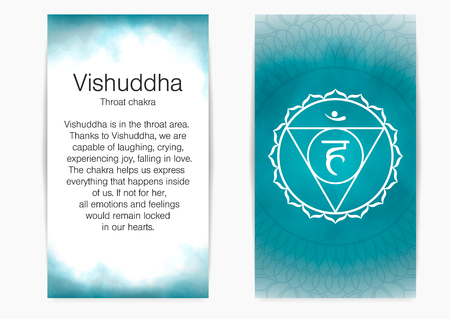 Fifth, throat chakra - Vishuddha. Illustration of one of the seven chakras. The symbol of Hinduism, Buddhism. Blue watercolor fog on background. Stock Illustratie