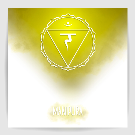 Third, solar plexus chakra - Manipura. Illustration of one of the seven chakras. The symbol of Hinduism, Buddhism. Yellow watercolor fog on background. Ilustracja