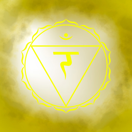 Third, solar plexus chakra - Manipura. Illustration of one of the seven chakras. The symbol of Hinduism, Buddhism. Yellow watercolor fog on background. Illustration