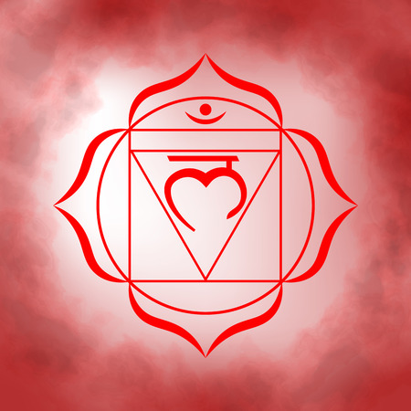 First, root chakra - Muladhara. Illustration of one of the seven chakras. The symbol of Hinduism, Buddhism. Red watercolor fog on background. Ilustracja