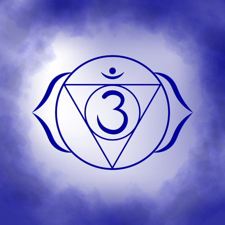 Sixth, third eye chakra - Ajna. Illustration of one of the seven chakras. The symbol of Hinduism, Buddhism. Blue watercolor fog on background. Ilustracja