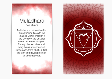 First, root chakra - Muladhara. Illustration of one of the seven chakras. The symbol of Hinduism, Buddhism. Red watercolor fog on background. Illustration