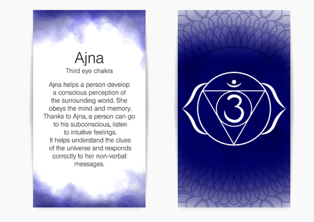 Sixth, third eye chakra - Ajna. Illustration of one of the seven chakras. The symbol of Hinduism, Buddhism. Blue watercolor fog on background. Illustration