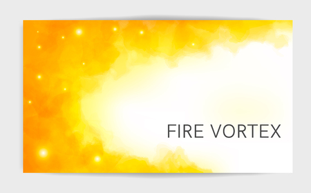 Magic light fire flame postcard template. Watercolor fire waves. The swirl fire on white background. Watercolor painting, illustration design.