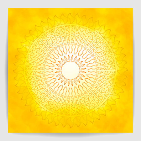 Orange mandala over yellow watercolor fog background. Beautiful vintage round pattern. Hand drawn abstract flame background. Tattoo element.