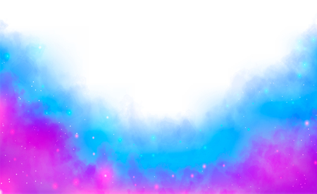 Textured watercolor fog background. Purple and blue fantasy mist. Shining Stars and Clouds. Vector illustration Ilustracja