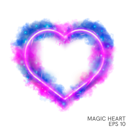 Watercolor magic flaming heart with neon contour  isolated on white background. Watercolor fog painting, illustration design. Ilustracja