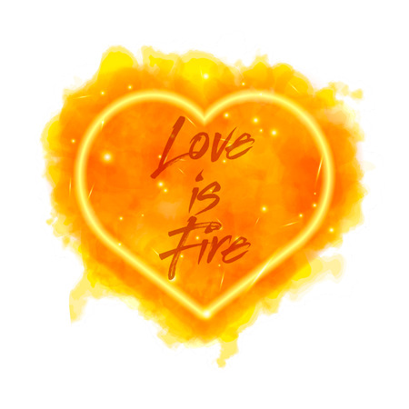 Love is fire. Watercolor flaming heart isolated on white background. Watercolor painting, illustration design.