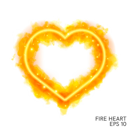 Watercolor flaming heart with neon contour isolated on white background. Watercolor painting, illustration design.