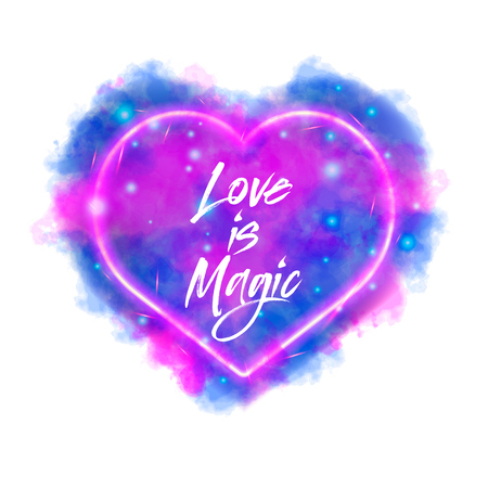 Love is magic. Watercolor magic flaming heart with neon contour  isolated on white background. Watercolor painting, illustration design. Ilustracja