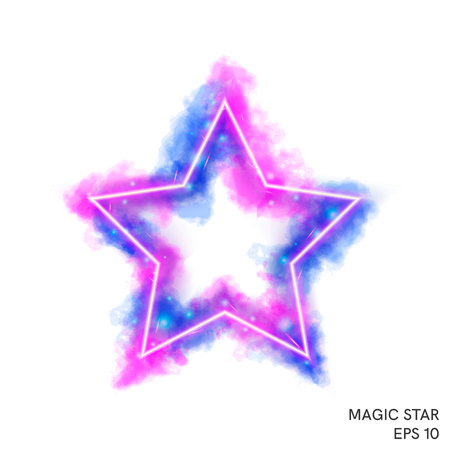 Watercolor magic fire star with neon counter. Special fantasy flame effect with lights and sparks.