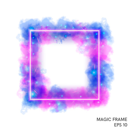 Watercolor magic fire frame with neon counter. Special fantasy flame effect with lights and sparks. Ilustracja