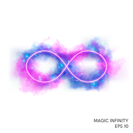 Watercolor magic fire infinity symbol with neon counter. Special fantasy flame effect with lights and sparks.