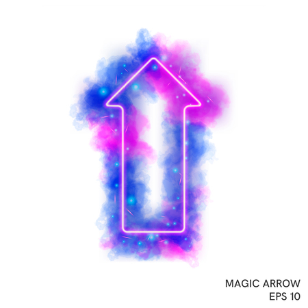 Watercolor magic fire arrow with neon counter  directed upward. Special fantasy flame effect with lights and sparks. Illustration