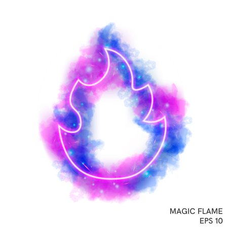 Watercolor magic fire torch with neon counter. Special fantasy flame effect with lights and sparks. Ilustracja