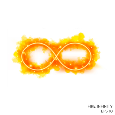 Watercolor fire infinity symbol with neon counter. Special fantasy flame effect with lights and sparks. Ilustracja