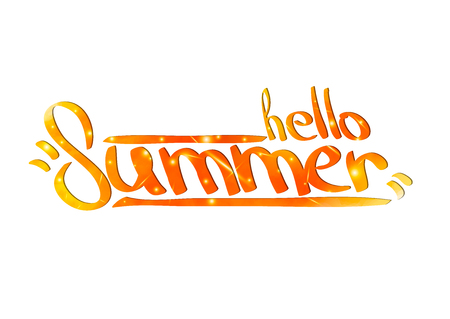 Hello Summer. Hand painted brush pen modern calligraphy in fire flame watercolor colors. Inspirational lettering design for posters, flyers, t-shirts, cards, invitations, stickers, banners.