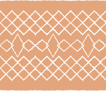 Ikat tribal art print. Seamless African pattern. Ethnic ornament on the carpet. Aztec style. Figure tribal embroidery. Indian, Mexican, folk pattern. African rug. Stock Illustratie