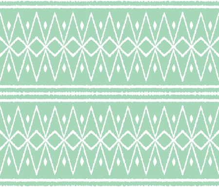 Ikat tribal art print. Seamless African pattern. Ethnic ornament on the carpet. Aztec style. Figure tribal embroidery. Indian, Mexican, folk pattern. African rug. Ilustracja