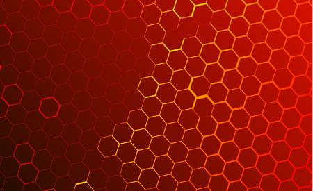 Fondo tecnológico moderno en el estilo de los panales de abejas. Resplandor anaranjado y amarillo brillante del hexágono. Ideal para banners web, blogs, carteles, postales, diseño de portadas. Ilustración de vector