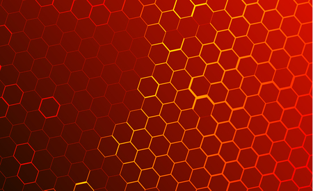 Modern technological background in the style of bee honeycombs. Bright orange and yellow glow from the hexagon. Ideal for web banners, blogs, posters, postcards, cover design Banque d'images - 104305128