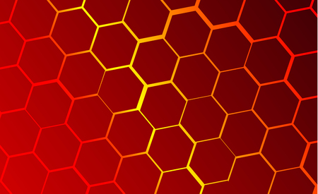 Fondo tecnológico moderno en el estilo de los panales de abejas. Resplandor anaranjado y amarillo brillante del hexágono. Ideal para banners web, blogs, carteles, postales, diseño de portadas.