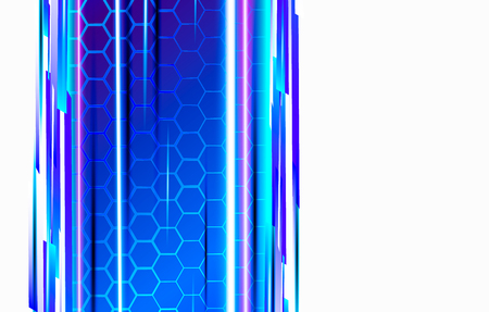 Modern technological background in the style of bee honeycombs. Bright violet and blue glow from the hexagon. Ideal for web banners, blogs, posters, postcards, cover design and movie backdrops.