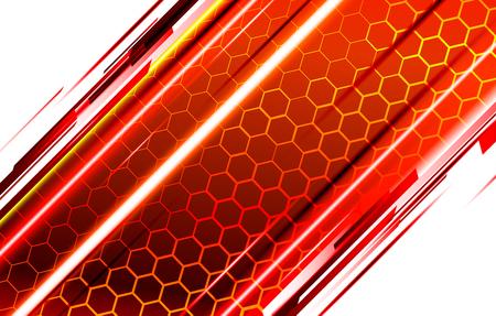 Fondo tecnológico moderno en el estilo de los panales de abejas. Resplandor anaranjado y amarillo brillante del hexágono. Ideal para banners web, blogs, carteles, postales, diseño de portadas y fondos de películas.