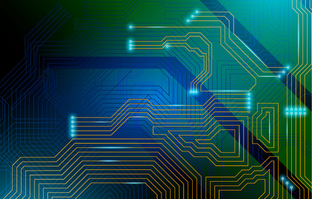 Colorful microscheme design. Vector micro chip, micro scheme elements design. Abstract technology, IT thematic background. Circuit Board Vector Illustration. 免版税图像 - 103823381