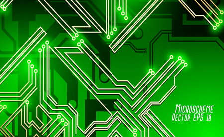 Colorful microscheme design. Vector micro chip, micro scheme elements design. Abstract technology, IT thematic background. Circuit Board Vector Illustration.