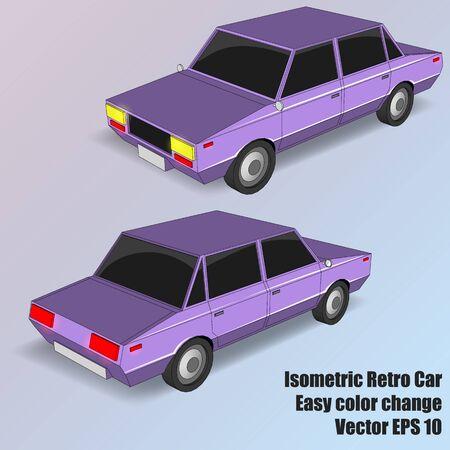 Vector Isometric Retro Car. Violet sedan isometry