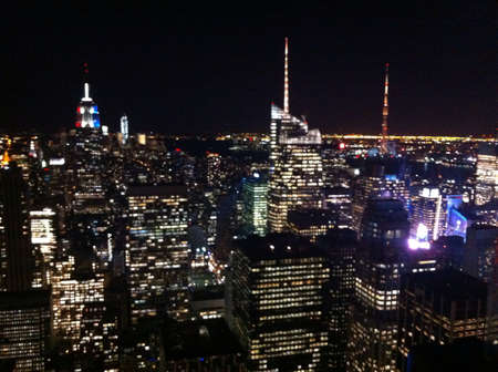 Manhattan midtown skyline and the Empire State Building view from Rockfeller center - New York City United States