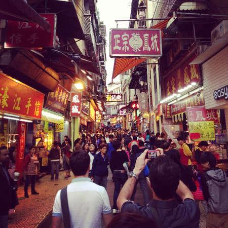 Macaus souvenir street near Ruins of St. Pauls
