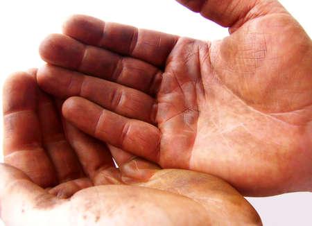 receptivo: Imagen de dos manos oscuras con grasa, que se celebr� conjuntamente. Imagen ha fondo blanco y orientaci�n horizontal.  Foto de archivo