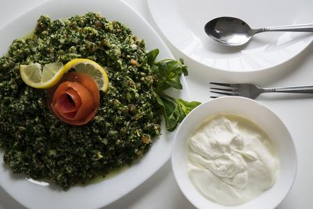 Middle eastern taboleh dish, Syrian salad