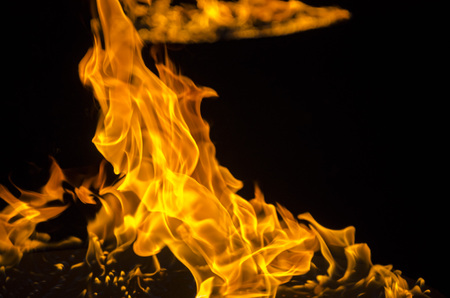 Isolated burning flame or fire on black background.