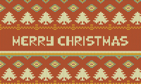 creative Merry Christmas graphic design, knitted Christmas tree greeting card,  Christmas and New Year Design Background with a Place for Text
