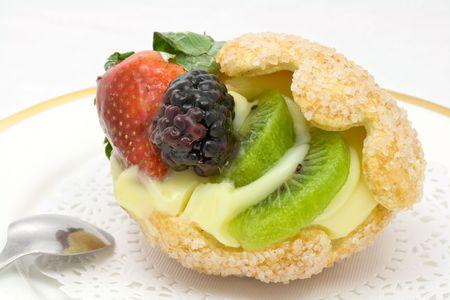 sugarcoated: Original sugar-coated shell cake stuffed with custard and fruits