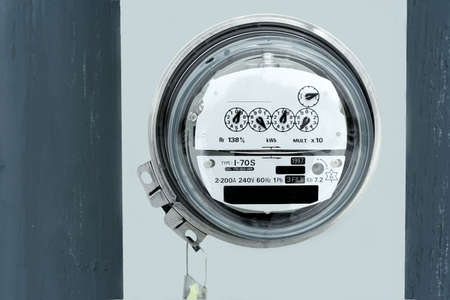 Closeup of an electic meter and dials