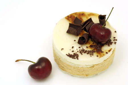 Pear and cherry mousse cake