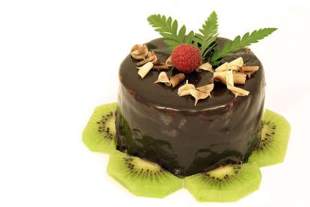 Chocolate cake with kiwi slices