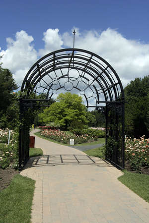 entrance arbor: Rose garden entrance in Montreal Botanical garden