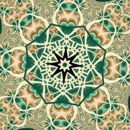 interlaced: Irish interlaced flowers mosaic Stock Photo