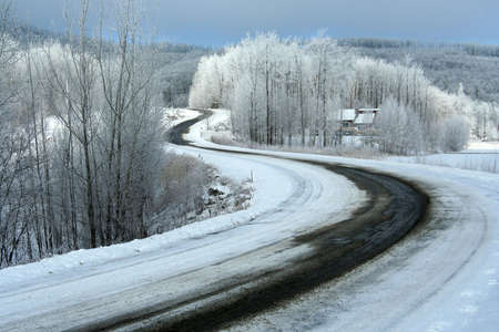 Mountain road in winter, covered with snow