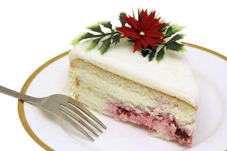 to cake layer: Torta di Natale decorati con strato rosso poinsettia