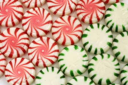 Red and green Christmas mints Stock Photo
