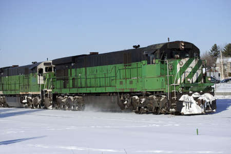 Black and green freight locomotive
