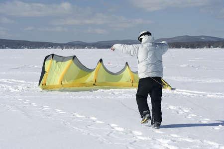 kiting: Ski kiting preparation Stock Photo