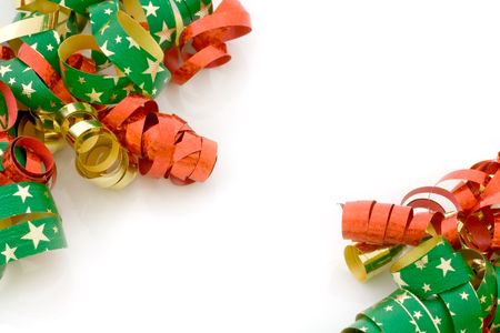 Red, golden and starry Christmas ribbons on white Stock Photo - 3062506